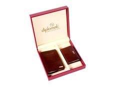 Набор Diplomat: обложка для паспорта, визитница, коричневый фото