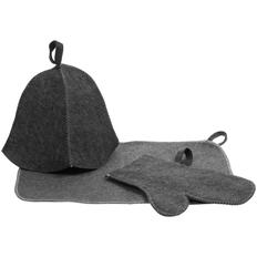 Набор для бани Парилка: шапка Heat Off, рукавица, коврик, серый фото