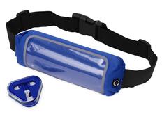 Набор для бега Sprint: поясная сумка и наушники Rebel, синий фото