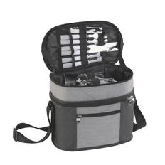Набор для пикника «Шотландия» с сумкой-холодильником, на 2 персоны, черный / серый фото
