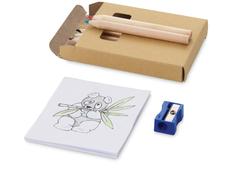 Набор для рисования: 6 цветных карандашей, точилка, раскраска, крафт фото