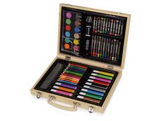 Набор для рисования: 67 предметов, чемодан с рисунком, светлое дерево фото