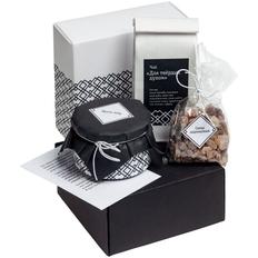 Набор Для твердых духом: чай, крем-мед, леденцовый сахар, открытка, черный / белый фото