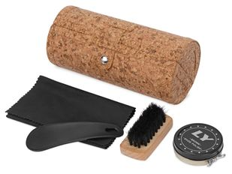 Набор для ухода за обувью Shining shoes: щётка, салфетка, ложка, крем, коричневый / чёрный фото