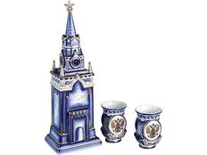 Набор Кремль: штоф для водки с двумя стопками, синий, белый фото