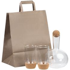 Набор для воды и вина Corky: графин In Vino, стакан с двойными стенками Corky, коричневый / прозрачный фото