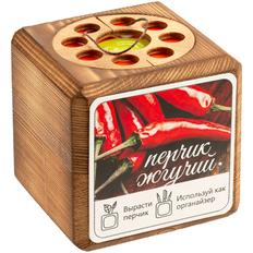 Набор для выращивания с органайзером «Экокуб Burn», перчик, коричневый фото