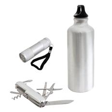Набор для выживания: фляжка, мультиинструмент, фонарик в сумке фото