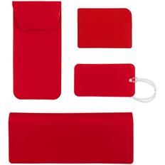 Набор Dorset Travel: чехол для карточек, багажная бирка, футляр для очков, дорожный органайзер, красный фото