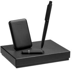 Набор Dualist Memo (ручка, внешний аккумулятор 5000 мАч, флешка на 16 Гб), малый, черный фото