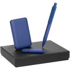 Набор Dualist Memo: внешний аккумулятор Uniscend Full Feel 5000 мAч, флешка Memo 16 Гб, ручка Prodir DS4 PMM-P, синий фото