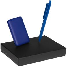 Набор Dualist: внешний аккумулятор Uniscend Full Feel 5000 мAч, ручка Prodir DS4 PMM-P, синий фото