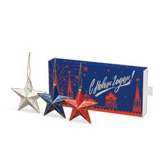 Набор елочных игрушек «Кремлевские Звезды», 3 шт в пенале, разноцветный фото