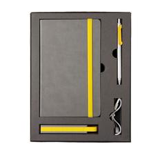 Набор Fancy: блокнот Fancy, ручка шариковая металлическая Snake, зарядное устройство Fancy 2200 мАч, серый / желтый фото