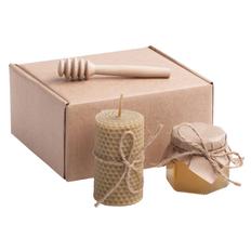 Набор подарочный Фермерский мед: мед Разнотравье, свеча, резная ложка-веретено, крафт фото
