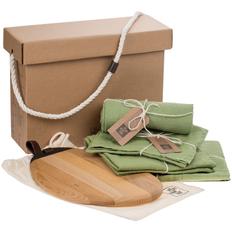 Набор Very Marque Fine Line: набор полотенец, фартук, дорожка сервировочная, набор салфеток, доска разделочная, зеленый фото