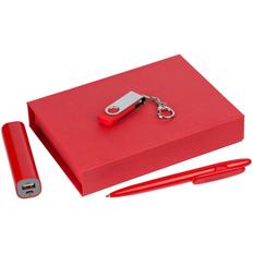 Набор First Kit: внешний аккумулятор Easy Shape 2000 mAh, флешка Twist 4 Гб, ручка шариковая Prodir DS5 TPP, красный фото