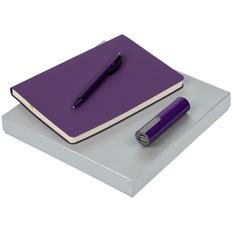 Набор Flex Shall Energy: внешний аккумулятор Vivien 2200 mAh, ежедневник недатированный А5, ручка шариковая Prodir DS8 PRR-T Soft Touch, фиолетовый фото
