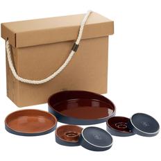 Набор Very Marque Form Fluid Platter: блюда 2 шт., набор подсвечников 2 шт., бордовый/ горчичный фото