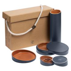 Набор Very Marque Form Fluid Quatro: ваза, блюдо, шкатулка, набор подсвечников, горчичный фото