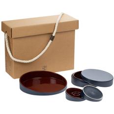 Набор Very Marque Form Fluid Trio: блюдо, шкатулка, набор подсвечников, бордовый фото