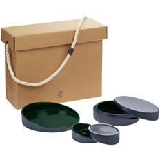 Набор Very Marque Form Fluid Trio: блюдо, шкатулка, набор подсвечников, зеленый фото