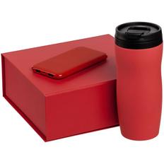 Набор Formation: термостакан Forma, внешний аккумулятор Uniscend Half Day Compact 5000 mAh, красный фото