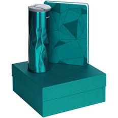 Набор подарочный Gems: ежедневник недатированный, термостакан, бирюзовый фото