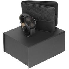 Набор Gentry: наручные часы Chronicker Black, портмоне dotMODE, черный фото