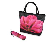 Набор подарочный Георгин: зонт складной полуавтомат, сумка для шопинга, черный / розовый фото