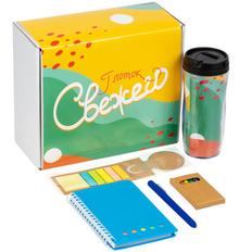 Набор «Глоток свежего»: блокнот Stick, стакан, набор восковых мелков, ручка шариковая Slider Soft Touch, закладка со стикерами, синий фото