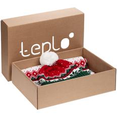 Набор teplo Happy View: шапка, шарф, красный/ зеленый фото