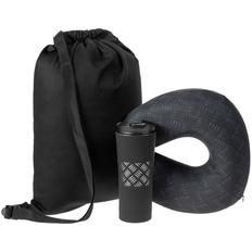 Набор Hard Work Black Travel Light: подушка дорожная, термостакан, рюкзак Nock, черный фото