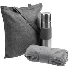 Набор Hard Work Hot Hardness: плед, термос, сумка для покупок Pastel, серый фото