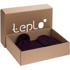 Набор teplo Heat Trick: шапка, шарф, варежки, баклажановый фото