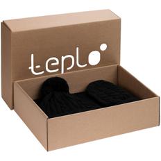 Набор teplo Heat Trick: шапка, шарф, варежки, черный меланж фото