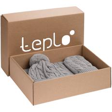 Набор teplo Heat Trick: шапка, шарф, варежки, светло-серый меланж фото
