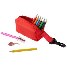 Набор для рисования в пенале с карабином MaKito Hobby: цветные карандаши 8шт, точилка, красный фото