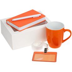 Набор Hop In: блокнот Freenote Wide, кружка Good Morning, чехол для карточки Apache, лента для бейджа Neckband, ручка шариковая Slider, оранжевый фото