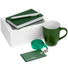 Набор Hop In: блокнот Freenote Wide, кружка Good Morning, чехол для карточки Apache, лента для бейджа Neckband, ручка шариковая Slider, зеленый фото