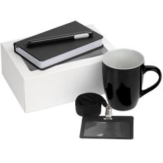 Набор Hop In: блокнот Freenote Wide, кружка Good Morning, ручка шариковая Slider, чехол для карточки Devon, лента для бейджа Neckband, черный фото