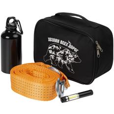 Набор Хозяин всех дорог: трос буксировочный Haul, фонарик-факел, бутылка для спорта Re-Source, черный/ оранжевый фото