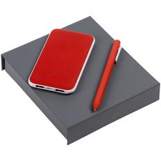 Набор Impact: внешний аккумулятор 5000 mAh, ручка шариковая Slider Soft Touch, красный фото