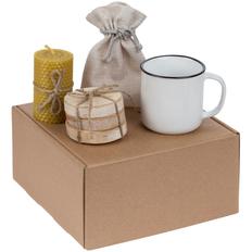 Набор Indoors: кружка Dacha, набор костеров Birchdale, свеча, черный чай, белый фото