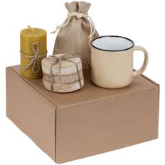 Набор Indoors: кружка Dacha, набор костеров Birchdale, свеча, черный чай, бежевый фото