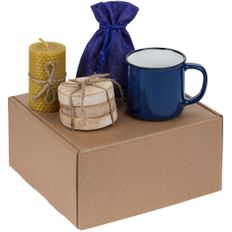 Набор Indoors: кружка Dacha, набор костеров Birchdale, свеча, черный чай, синий фото