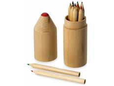 Набор для раскрашивания Drawing: карандаши цветные, 12шт в деревянном тубусе, древесный фото