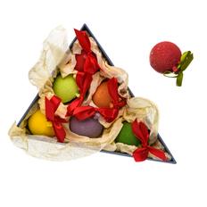 Набор из 6 елочных шаров шоколадных, разноцветный фото
