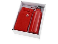 Набор из фляги и полотенца Фитнес, красный фото