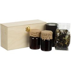 Набор Jam Beam: варенье клубничное, варенье вишневое, чай, черный/ светлое дерево фото